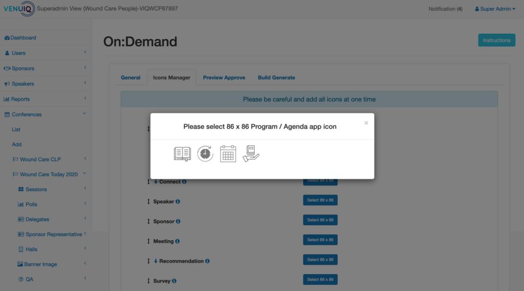 VenuIQ admin centre branding icon settings