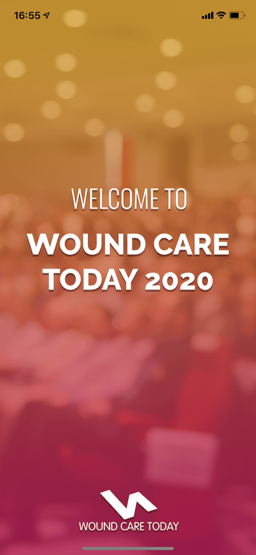 Wound Care 2020 branded splash screen in event app by VenuIQ