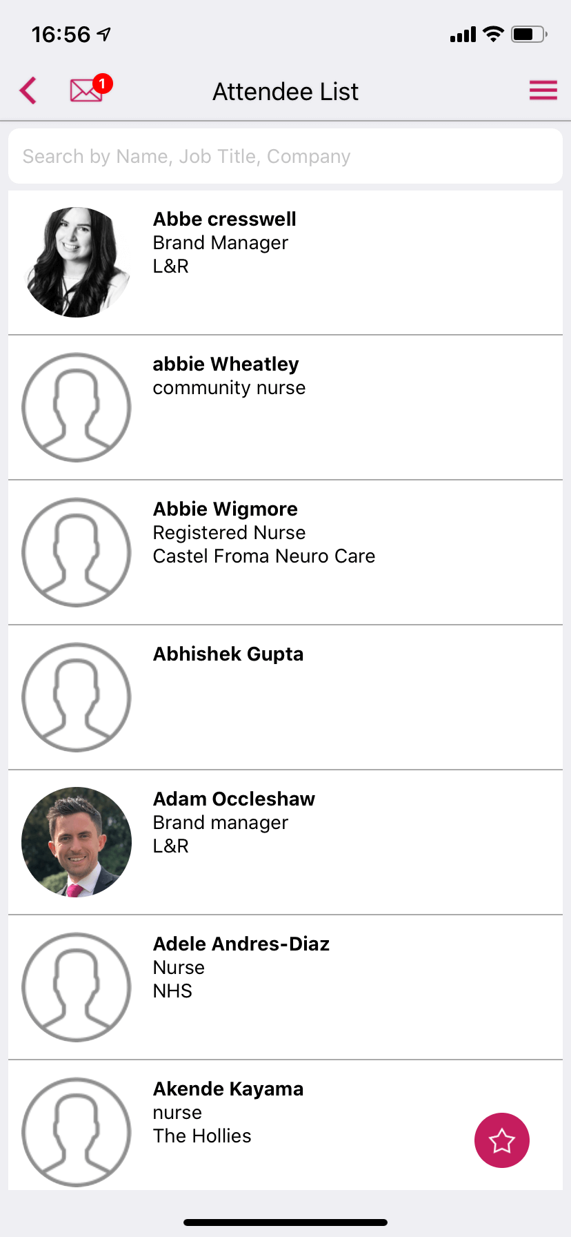 Attendees list in an event app by VenuIQ