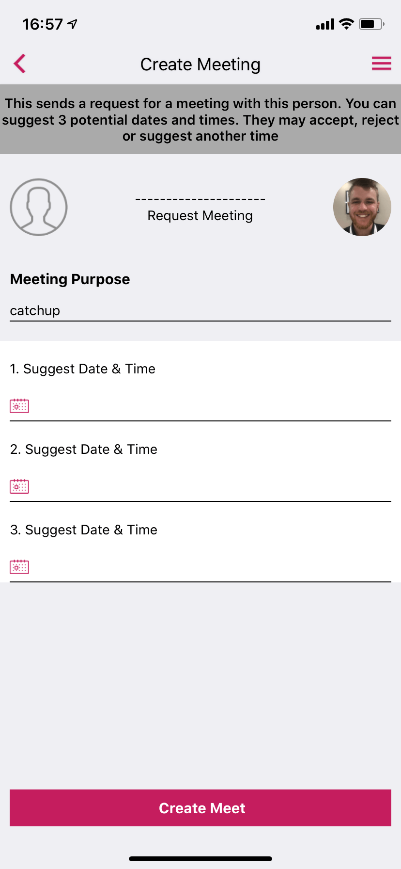 Meetings screen in an event app by VenuIQ