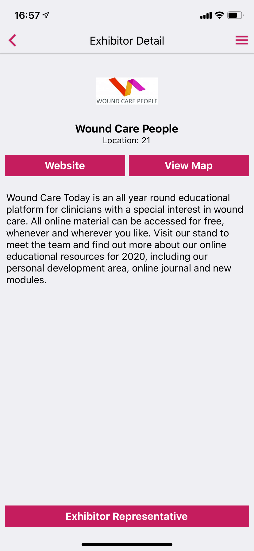 Exhibitor profile screen from an event app by VenuIQ